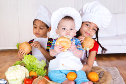children holding a food